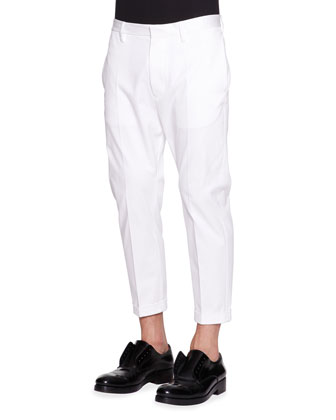 Cropped Stretch-Cotton Pants, White