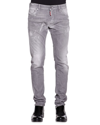 Cool Guy Slim-Fit Gray Distressed Jeans