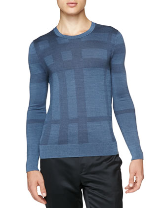 Check Silk Crewneck Sweater, Dark Blue