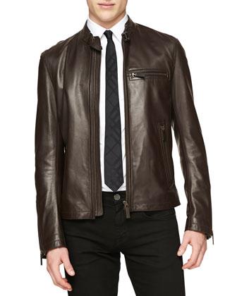 Lambskin Leather Zip Jacket
