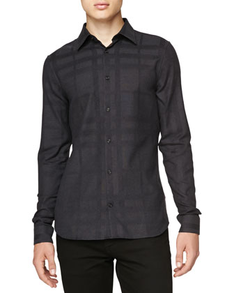 Long-Sleeve Buttoned Check Shirt, Charcoal