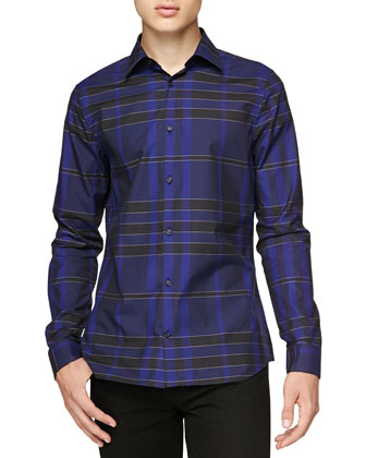 Long-Sleeve Buttoned Check Shirt, Bright Navy
