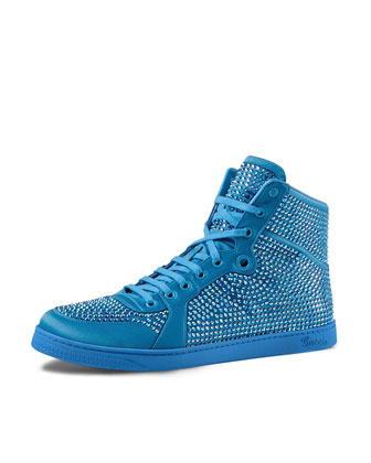 High-Top Sneaker with Crystal Studs