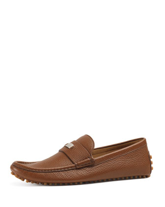 Leather Pebbled-Sole Driver, Brown