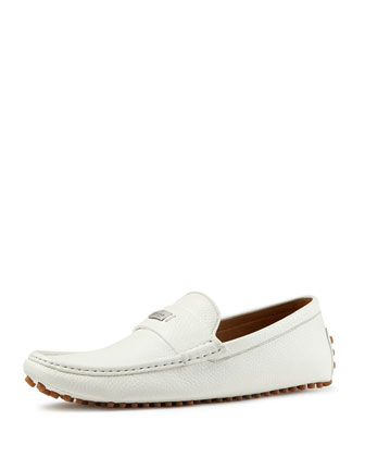 Leather Pebbled-Sole Driver, White