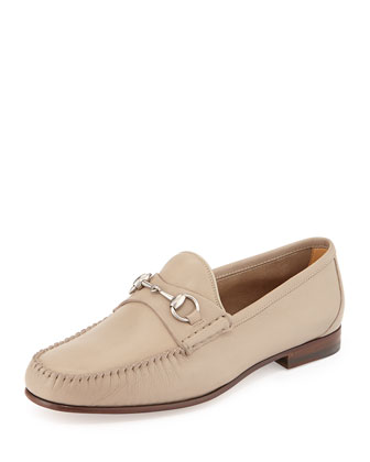 Unlined Leather Horsebit Loafer,Tan