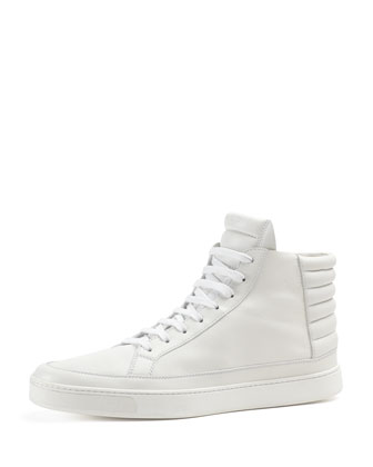 Leather High-Top Sneaker, White