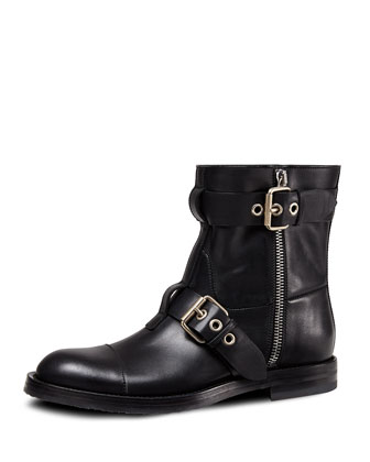 Leather Biker Boot, Black