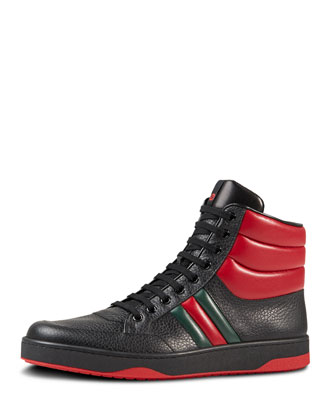 Contrast Padded Leather High-Top Sneaker, Black