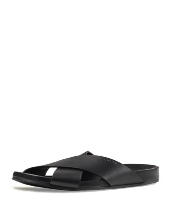 Leather Crossover Sandal, Black