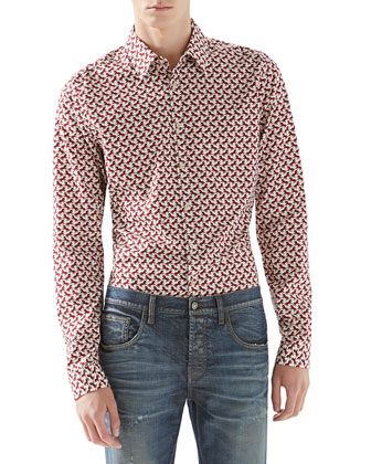 Dressage-Print Poplin Shirt & Stonewashed Stretch-Denim Skinny Jeans
