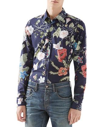 Flora Knight Print Shirt & Stonewashed Stretch-Denim Skinny Jeans