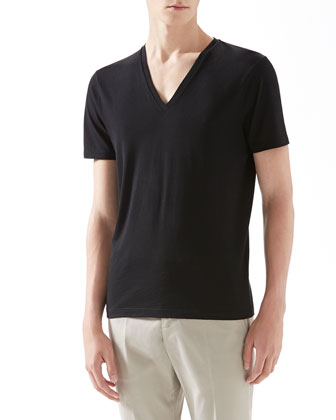 Cotton V-Neck Tee, Black