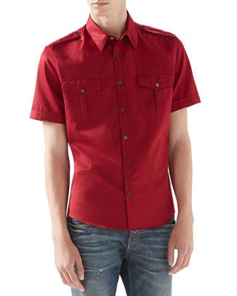 Short-Sleeve Duke Shirt, Burgundy