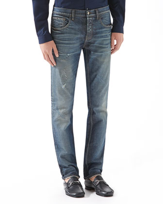 Stonewashed Stretch-Denim Skinny Jeans
