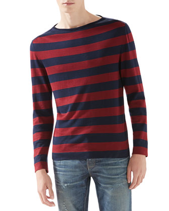 Striped Silk-Cotton Sweater, Navy/Burgundy
