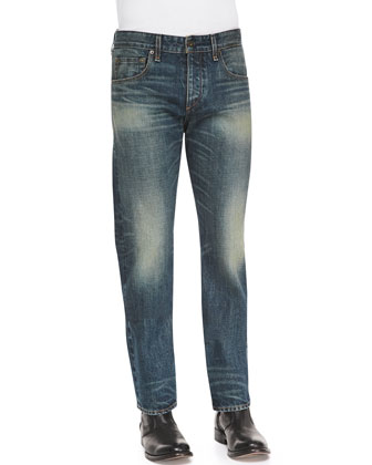Faded Wash Denim Jeans