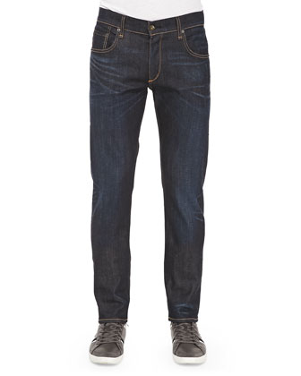 Relaxed-Leg Denim Jeans, Dark Indigo