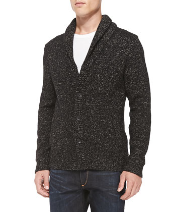 Landon Shawl-Collar Cardigan, Black