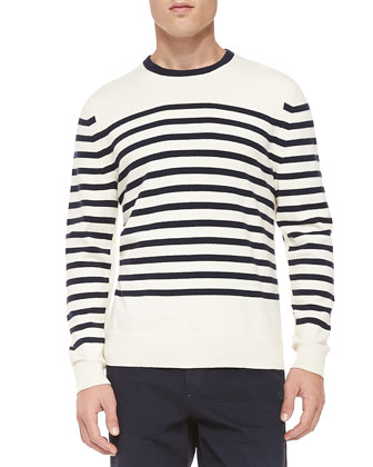 Chase Striped Crewneck Sweater, White