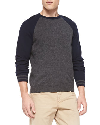 Jace Striped-Cuff Baseball Sweater & Relaxed Five-Pocket Trousers