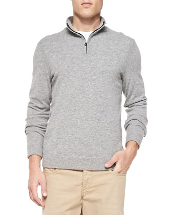 Zeeland Elbow-Patch Sweater, Gray