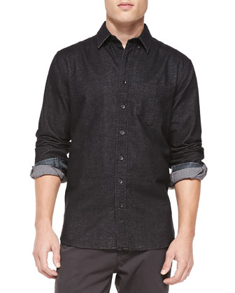 Button-Down Plaid Shirt, Black