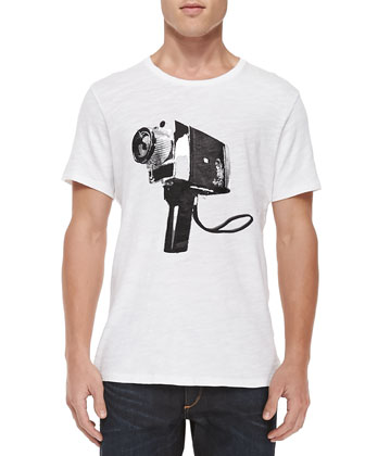 Short-Sleeve Camera Graphic Tee, White