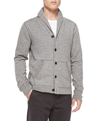 Shawl-Collar Cardigan W/ Elbow Patches, Gray