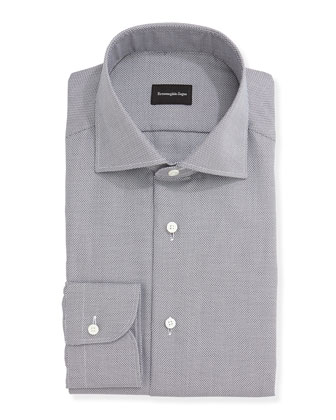 Textured Oxford Dress Shirt, Gray