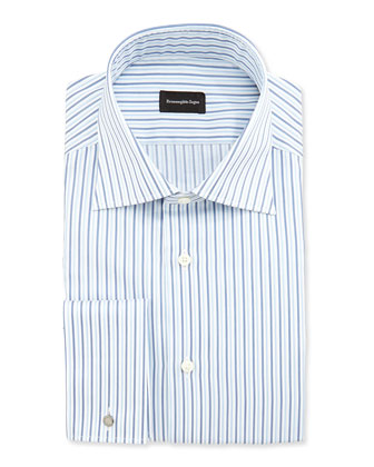 Alternating-Stripe French-Cuff Shirt, Blue