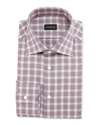 Basketweave Windowpane Check Shirt, Red