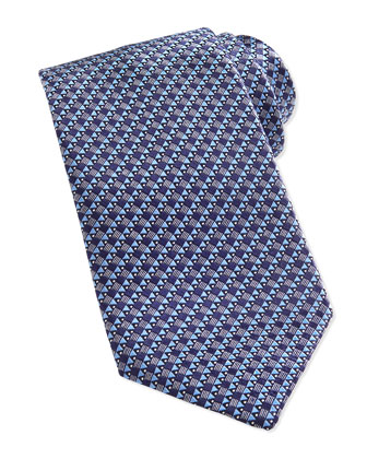 Woven Micro House-Print Tie, Blue