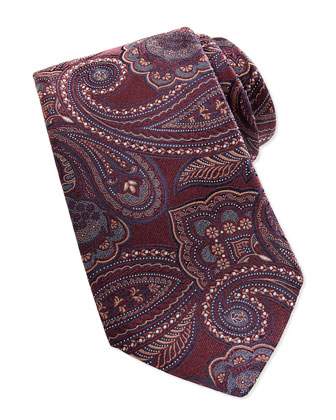 Woven Tapestry Paisley Tie, Brown