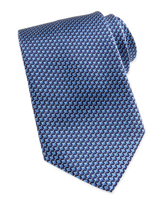 Micro Slanted Diamond Silk Tie, Blue