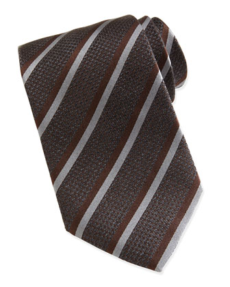 Textured Chain Double-Stripe Tie, Gray