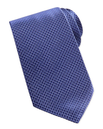 Scale-Print Neat Tie, Blue