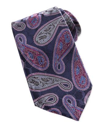 Paisley-Print Tie, Navy