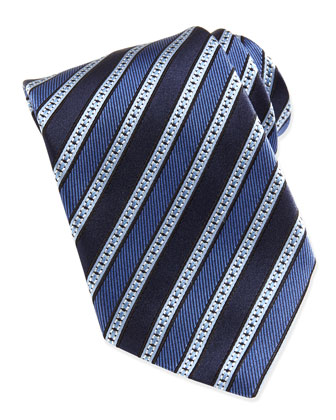 Multi Grosgrain Stripe Silk Tie, Blue