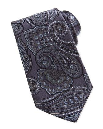 Tapestry Paisley Silk Tie, Gray