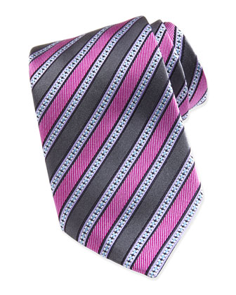 Multi Grosgrain Stripe Silk Tie, Purple