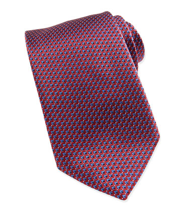 Micro Slanted Diamond Silk Tie, Red