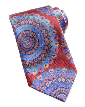 Quindici Large-Circle Silk Tie, Red