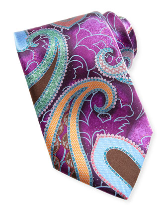 Quindici Large-Paisley Silk Tie, Purple