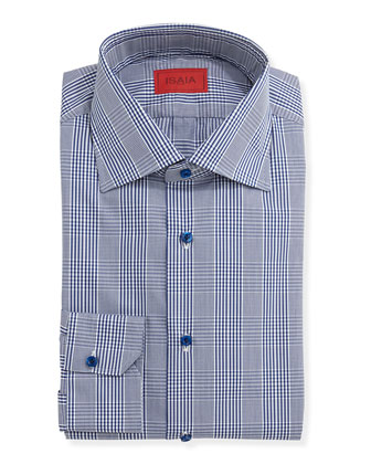 Woven Plaid Dress Shirt, Navy Glen