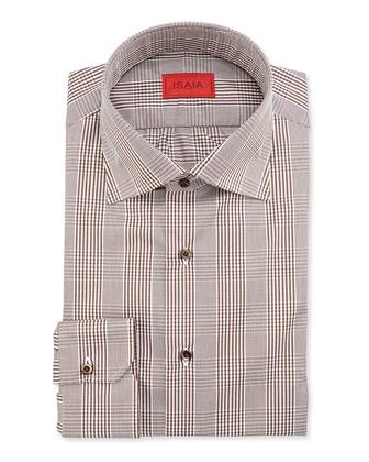 Glen Plaid Cotton Shirt, Brown