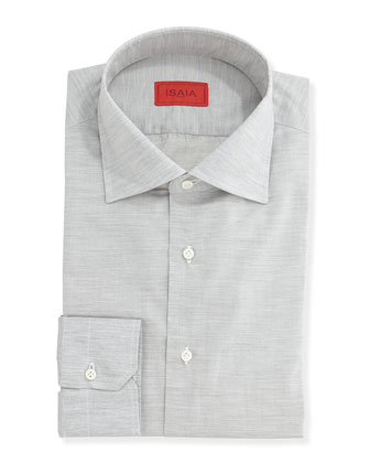 Solid Woven Dress Shirt, Gray