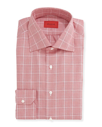 Woven Glen Plaid Chalk Dress Shirt, Red