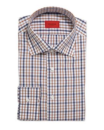 Long-Sleeve Graph-Check Dress Shirt, Navy/Orange/White