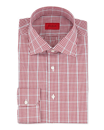 Check Cotton Dress Shirt, Berry/Gray